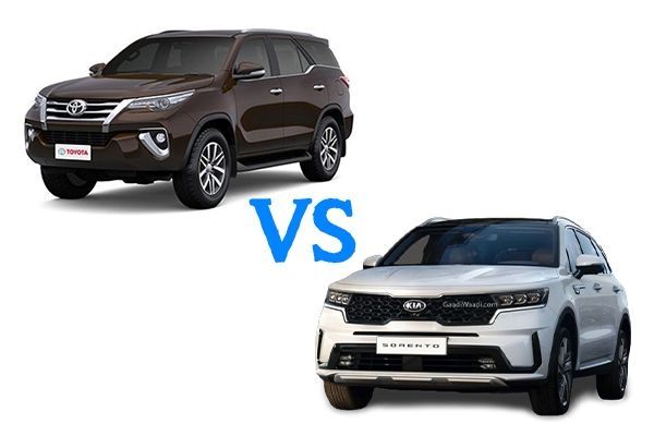 Kia Sorento vs Toyota Fortuner BS6 : Comparison