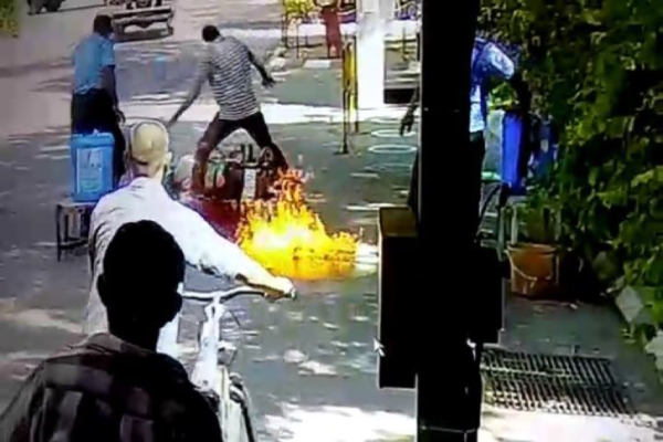 Bike Catches Fire in Gujarat During Sanitization Process