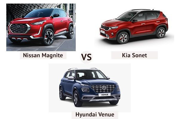 Kia Sonet vs Hyundai Venue vs Nissan Magnite: Price, Features, Specifications