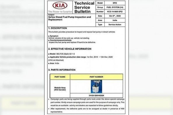 Kia Seltos Technical Service Button Certificate