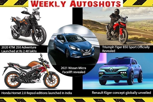 Weekly Auto Shots - 2020 KTM 250 Adventure Launched at Rs 2.48 Lakhs, Renault Kiger Concept Globally Unveiled
