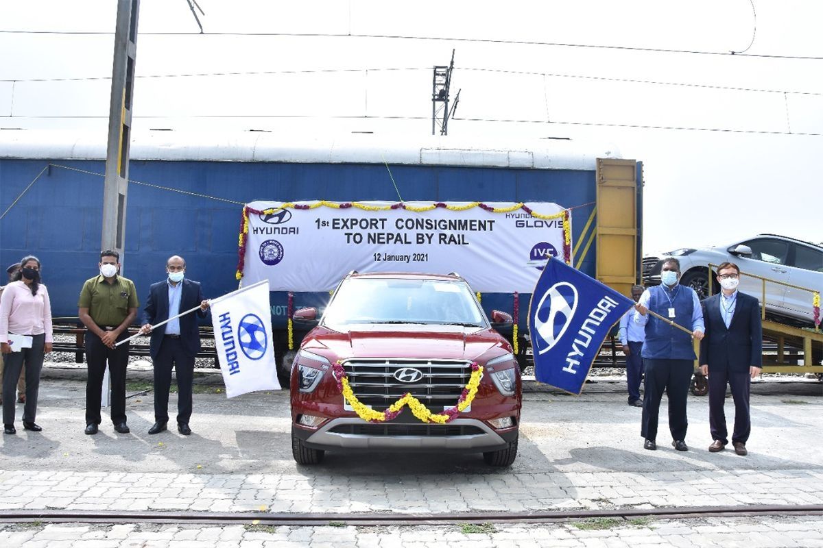 First Batch of Hyundai Cars Exported to Nepal via Railways