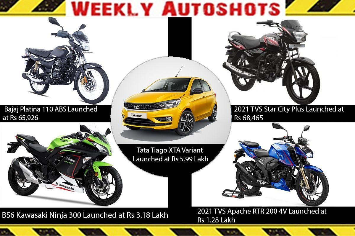 Weekly Auto shots -  2021 TVS Star City Plus, BS6 Kawasaki Ninja 300, Bajaj Platina 110 ABS and Tata Tiago XTA Launched