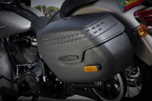 Waterproof saddle bags on the Classic.