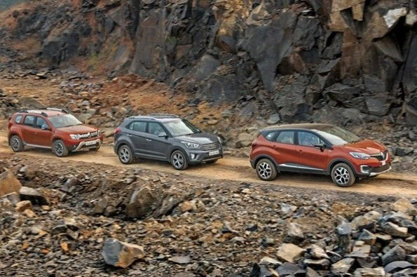 All three SUVs in action.