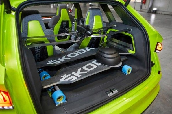 Electric skateboards in the back of the Vision X.