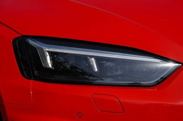 The LED headlight with a black housing.