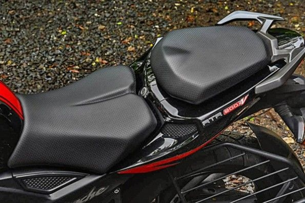 The bike has a two-piece seat.