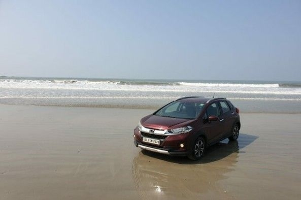 Red Color Honda WR-V Front Profile by Beach Side