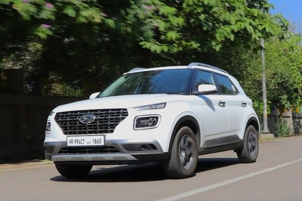 White Color Hyundai Venue SUV Front Profile