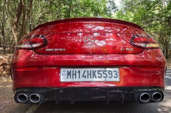 Red Color Mercedes-AMG C43 Coupe Rear Profile