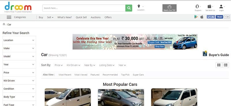 Car Display ads on search page
