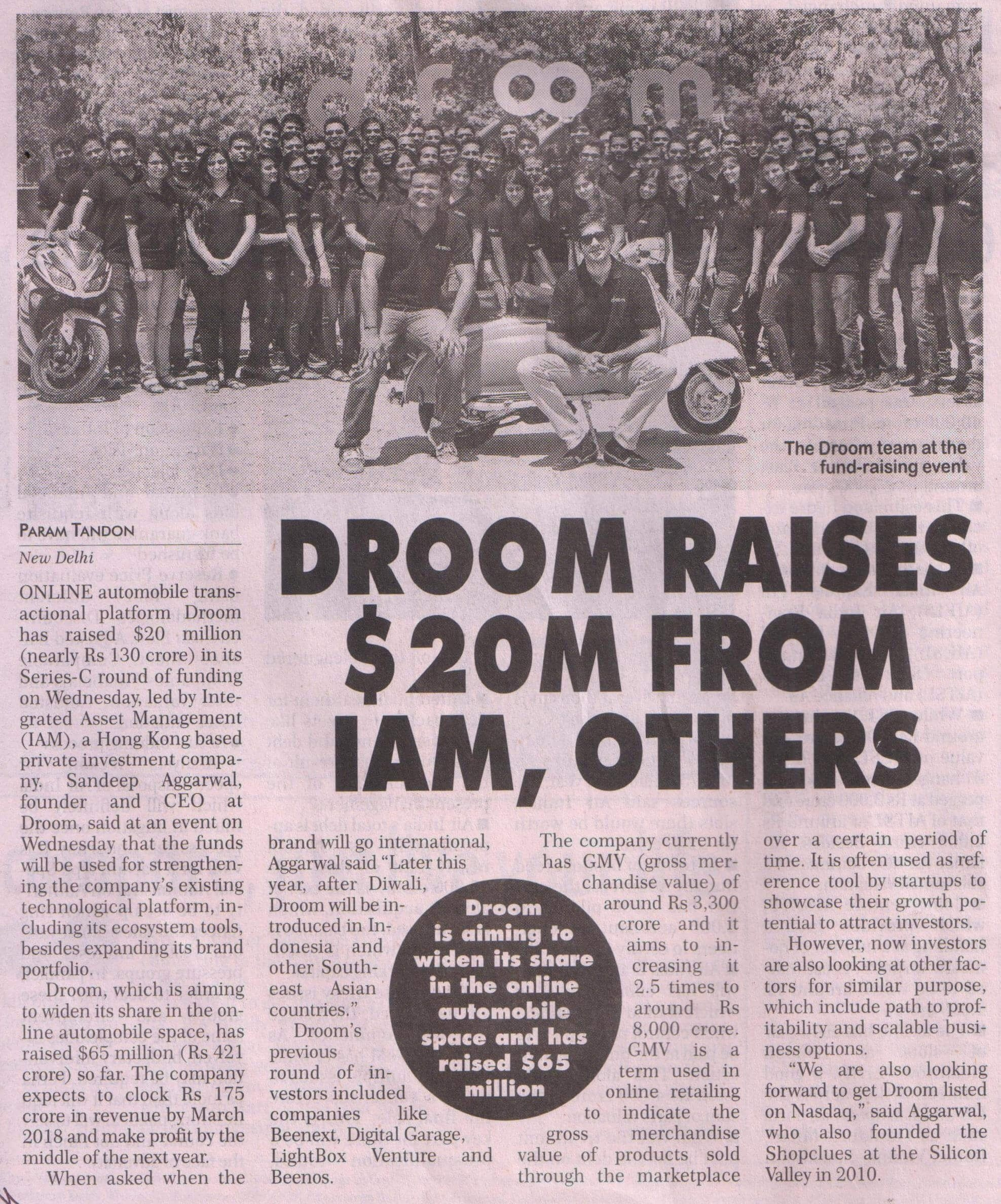 Financial Chronicle  | Droom in news