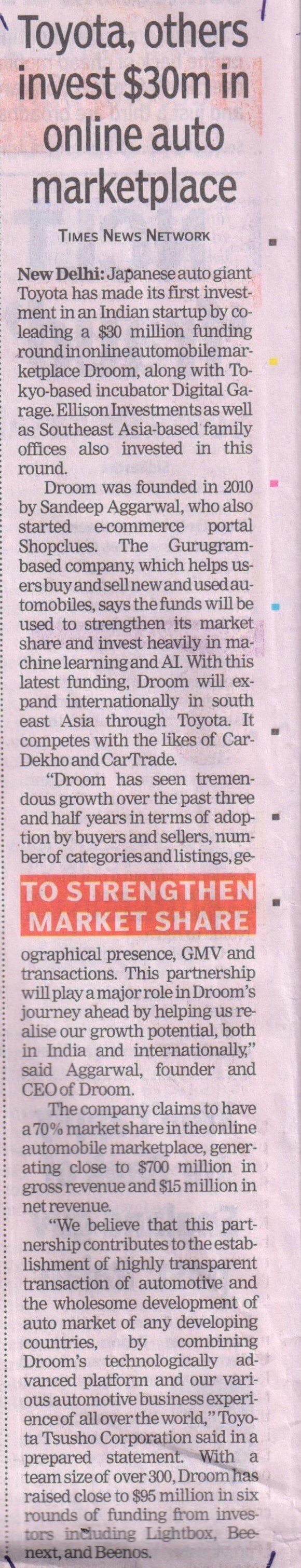 The Times of India | Droom in news