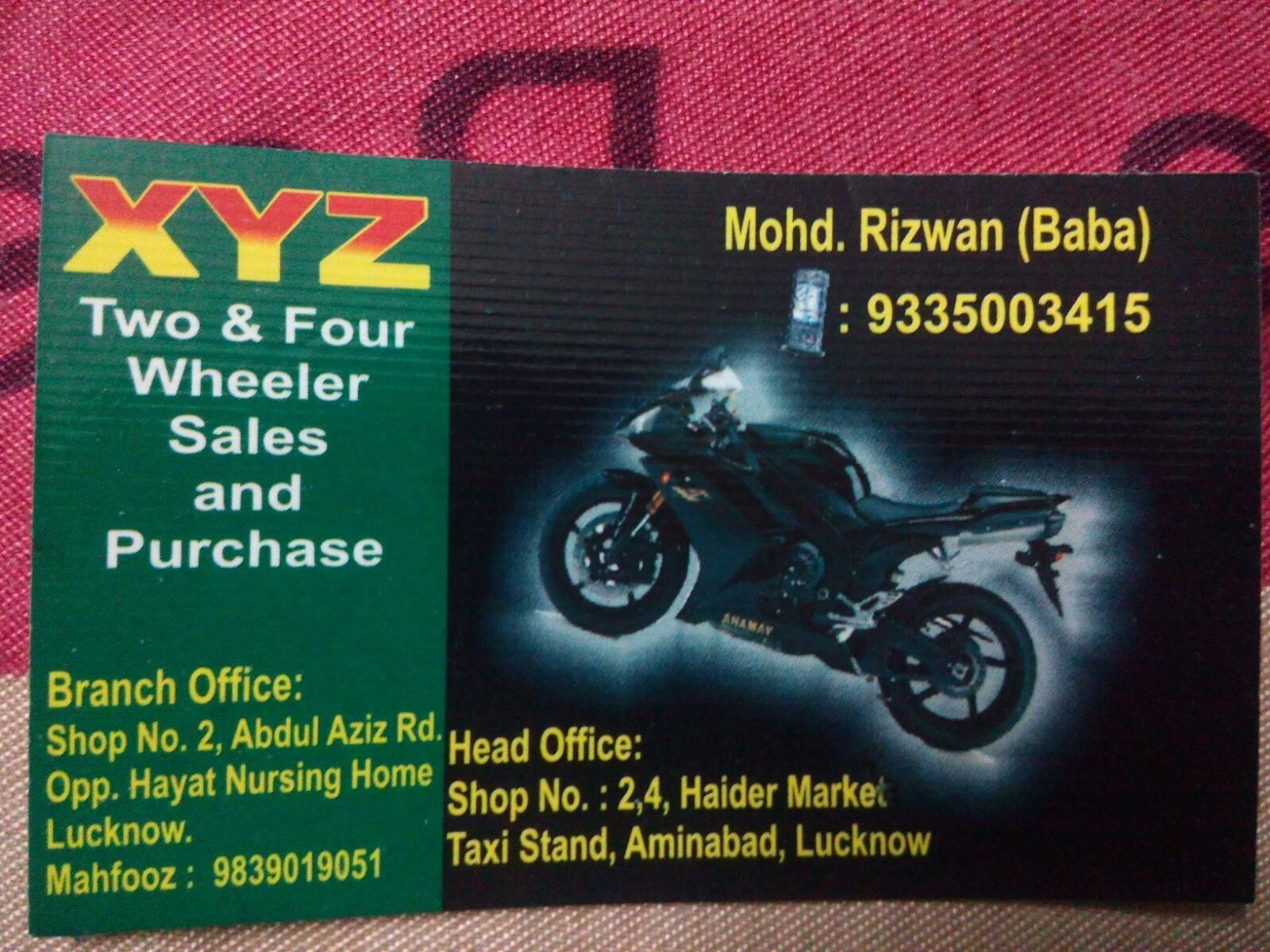 xyz two & four wheeler sales and purchase